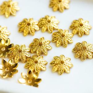 Шапочка в тибетском стиле, золото, 12.5x3.5 мм...