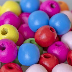 Бусина круглая деревянная, разноцветные, 16х15 мм