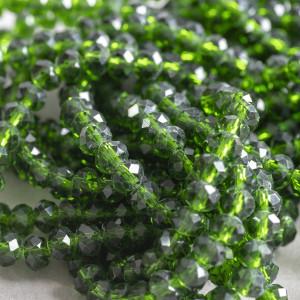Бусина абакус стеклянная граненая, темный зеленый, 6х4 ...