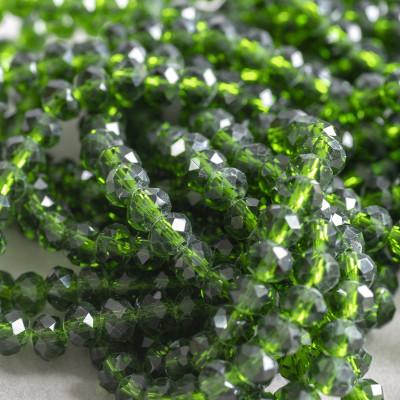 Бусина абакус стеклянная граненая, темный зеленый, 6х4 мм