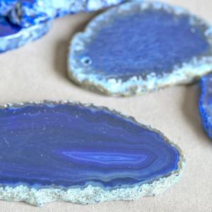 Подвеска агат, срез камня, цвет синий колорир., 50-110x...