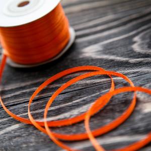 Атласная лента, насыщенный оранжевый, ширина 3 мм...
