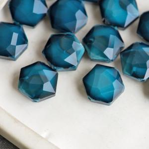 Бусина стекло граненая, синий, 14x8 мм...