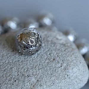 Бусина металлическая, платина, 14 мм...