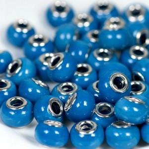 Бусина в стиле Пандора из стекла, голубой, 14х9 мм...