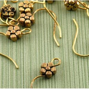 Швензы (основы для сережек), античное золото, 18х18х3 м...