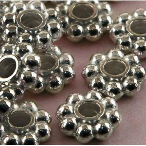 Разделитель-рондель для бусин, платина, 8х3 мм (20 шт)...