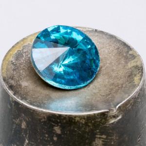 Кабошон стеклянный круглый Риволи, ярко-бирюзовый, 12 м...