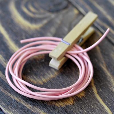 Шнур кожаный, цвет розовый, диаметр 1,5 мм