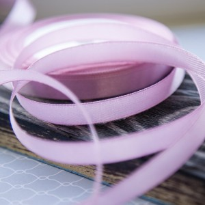 Лента атласная, цвет сиренево-розовый, 10 мм