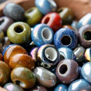 Бусина керамическая круглая, разные цвета, 15х9 мм...