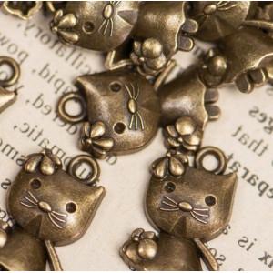 Подвеска металлическая в виде котенка, античная бронза,...