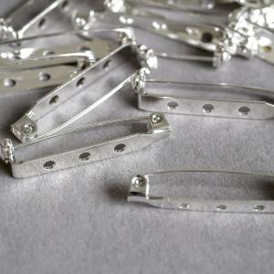 Основа для броши, цв. серебро, 32x5 мм...