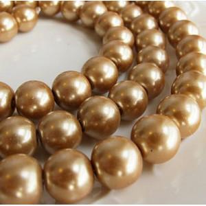 Бусина стеклянный жемчуг, бронзово-золотистый, 12 мм...