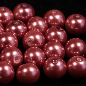 Бусина стеклянный жемчуг, розово-красный, 12 мм...