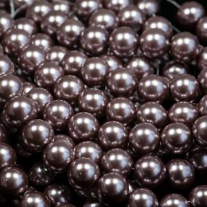 Бусина стеклянный жемчуг, какао, 14 мм...
