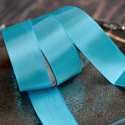 Лента, атлас, цвет синий, ширина 25 мм