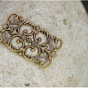 Коннектор филигранный, античная бронза, 25.5х15 мм...