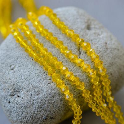 Бусина биконус стеклянная, желтый, 4 мм (уп 30шт)
