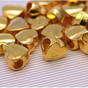 Бусина-тоннель металлическая, золото, 11х11х7 мм...