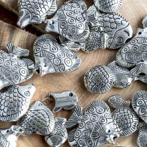 Бусины  металлические фигурные, набор, античное серебро...