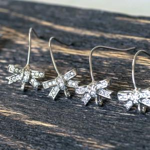 Швензы (основы для сережек), с кристаллами,  цвет плати...