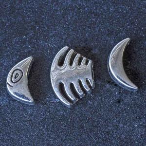 Бусина металлическая фигурная, античное серебро, 17х12х...