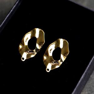 Пуссеты-гвоздики, покрытие Real Gold Plated,  24.5x13 м...