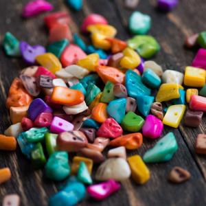 Бусина из ракушки, окрашенная в разные цвета, 7-15 мм (...