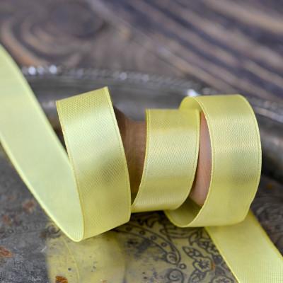 Атласная лента, лимонно-желтый, ширина 15 мм