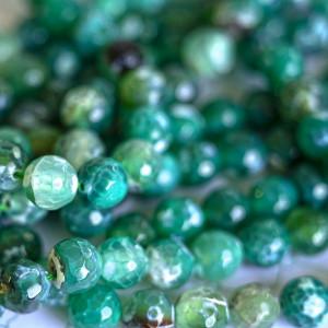 Бусина круглая агат, граненая, бирюзово-зеленый, окраше...