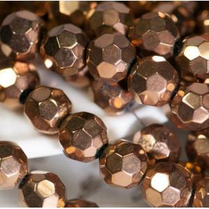 Бусина круглая стеклянная с гранями, бронзовый, 8 мм...