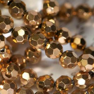 Бусина круглая стеклянная с гранями, золотой, 8 мм...
