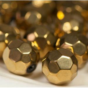 Бусина круглая стеклянная с гранями, золото, 12 мм...
