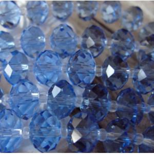 Бусина абакус стеклянная граненая, голубой, 12х8 мм...