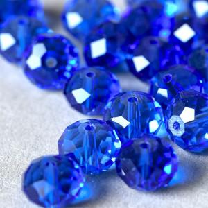 Бусина абакус стеклянная граненая, синий, 12х8 мм...