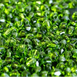 Бусина биконус стеклянная, зеленый травяной, 4 мм (уп 3...