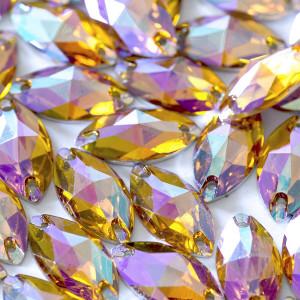 Пришивные стразы с огранкой Navette, оранжево-фиолетовы...
