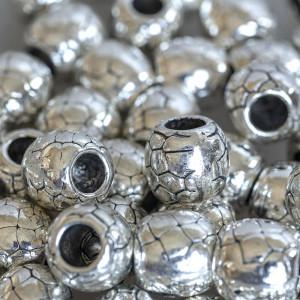 Бусина-тоннель металлическая, античное серебро, 11х11х1...