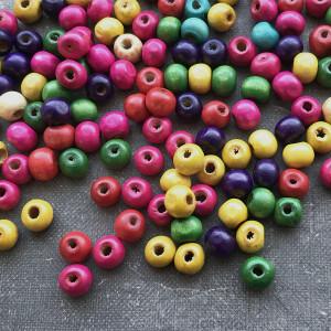 Бусина круглая деревянная, разные цвета, 8 мм...