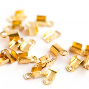 Зажим-концевик для шнура, золото, 6х3 мм  (в уп ок. 40 ...