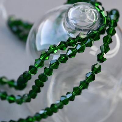 Бусина биконус стеклянная, темный зеленый, 8 мм