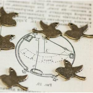 Подвеска металлическая в виде птички, античная бронза, ...