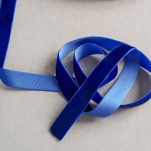 Бархатная лента, синий, ширина 15,9 мм...