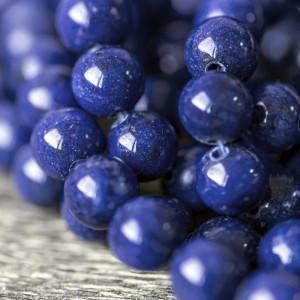 Бусина имитация нефрита, круглая, цвет ярко-синий, окра...