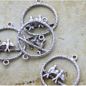 Коннектор 1-1 отв, цвет античное серебро, 34х28х4 мм...