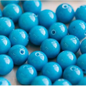 Бусина имитация нефрита, круглая, цвет голубой, окрашен...