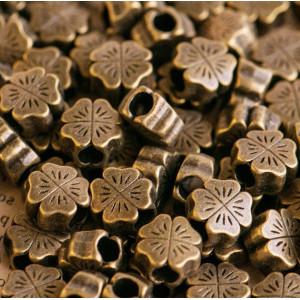 Бусина-тоннель металлическая, античная бронза, 10х10х4 ...