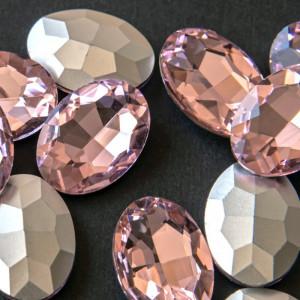 Кристаллы с фольгированной поверхностью, овал, розовый,...