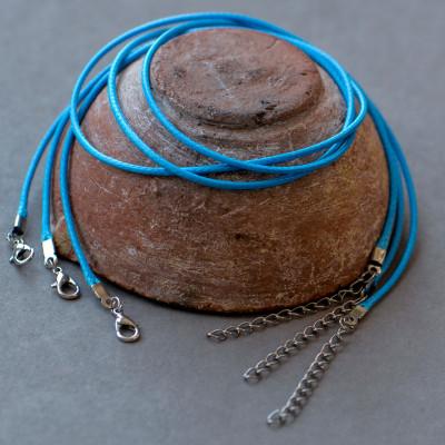 Основа для ожерелья, вощеный шнур, голубой, 450х2 мм